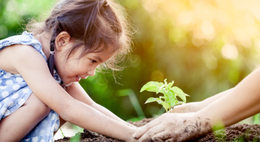 A young girl plants a tree and a pair of adult hands can be seen helping her. The image accompanies information about sustainable investing.
