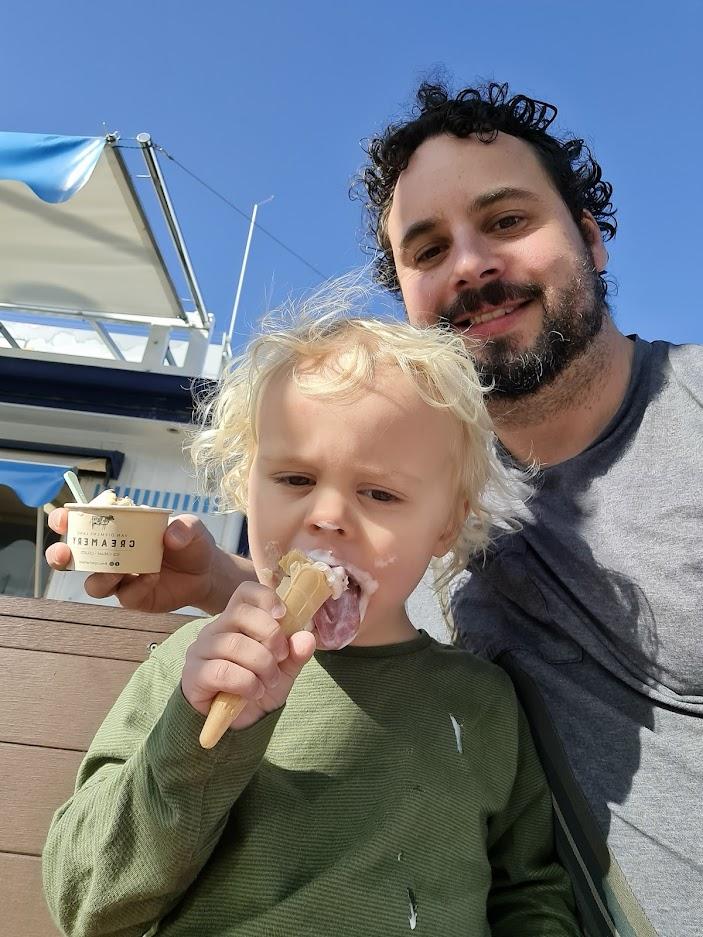 Six Park client Steve Ktori and son Ted eating icecreams